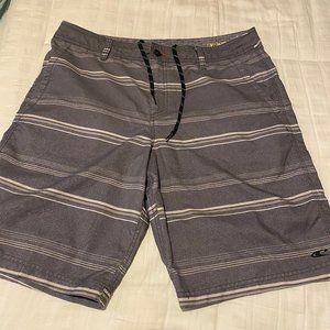O'NEILL Men's Gray/White Hybrid Shorts Size 36